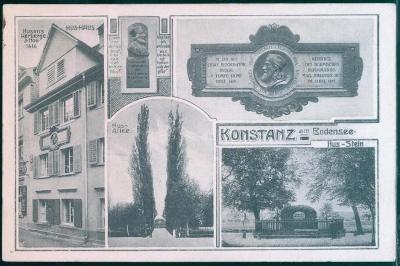 27A1082 Konstanz am Bodensee / Kostnice - Husův dům, alej, Německo
