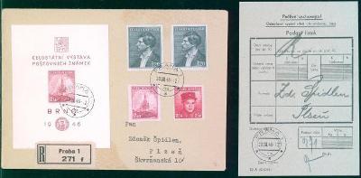 11B388 R dopis vč. podacího lístku, aršík Celost. výstava pošt. známek