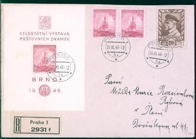 11B389 R dopis Praha - Plzeň, aršík Celost. výstava pošt. známek 1946
