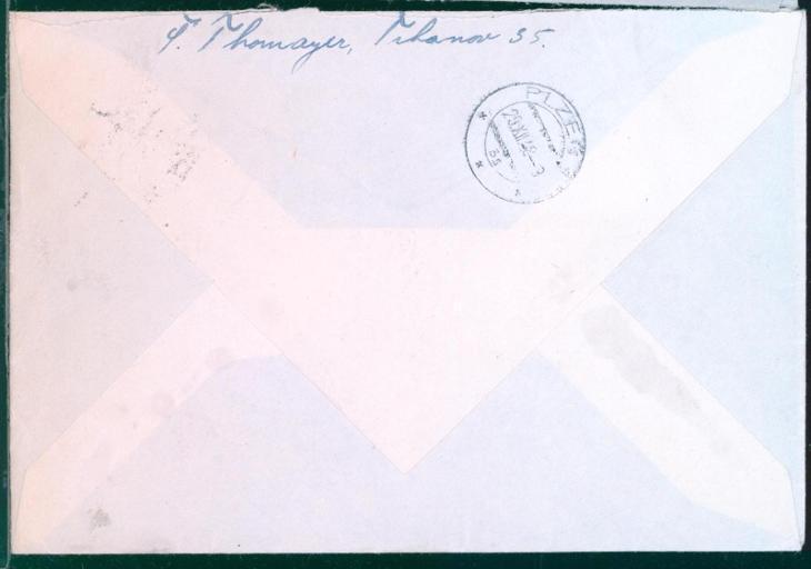11B434 R expres dopis Trhanov - Obch. a živnost. komora Plzeň - Filatelie