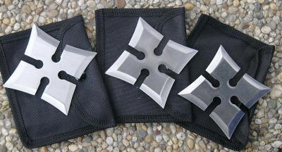 shuriken - házecí hvězdice 4 hroté sada 3 kusy