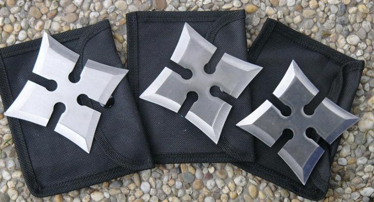 shuriken - házecí hvězdice 4 hroté sada 3 kusy - Střelba a myslivost