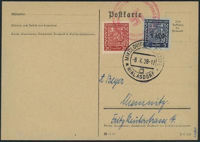 Známky Sudety, Sudetenland Niklasdorf MiNr 1,lístek+atest 1938 vzácné