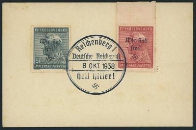 Známky Sudety, Sudetenland Reichenberg MiNr 120,121+atest 1938 vzácné