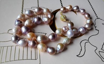 Prvotřídní jihomořské 15 mm perly, luxusní náhrdelník 50 cm, handmade