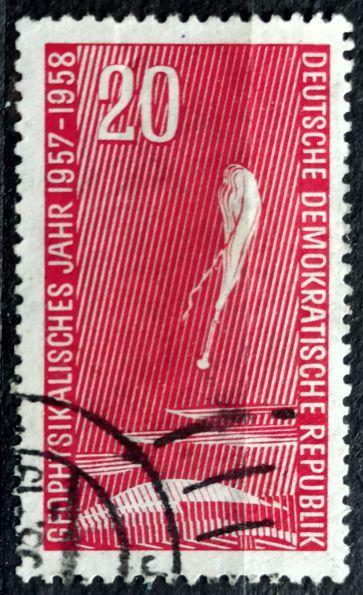 DDR: MiNr.616 Stratospheric Balloon above Clouds 20pf 1957
