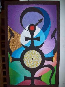 ZODIAK, akryl na sololitu, 40 x 25 cm
