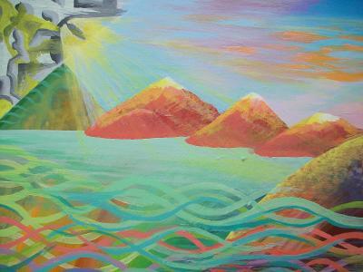 Červené hory, akryl na plátně, 50 x 40 cm