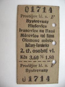 Jízdenka ČSD: Prostějov - Bystrovany Hlušovice Ivanovice Měrovice 1966