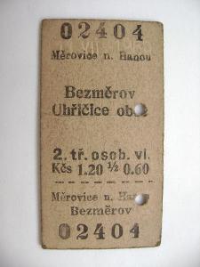 Jízdenka ČSD: Měrovice nad Hanou - Bezměrov, Uhřičice 1965
