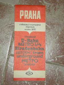 mapa Praha -městská hromadná doprava- 1978