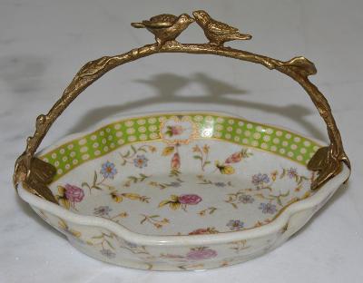 Zámecká miska s ptáčky - porcelán + bronz-KRÁSNÁ