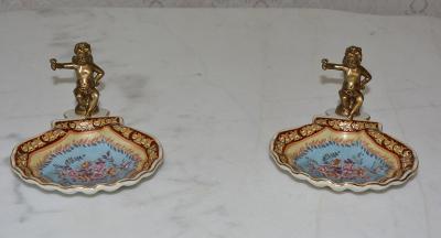 Zámecké misky s amorky - porcelán + bronz - KRÁSNÉ