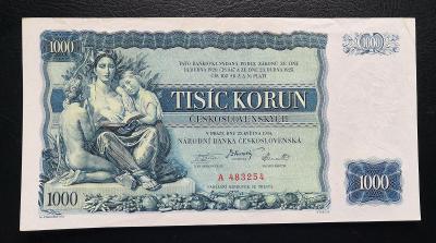 1000 korun 1934,neperforovana serie A stav 1