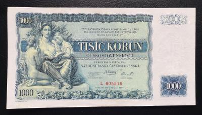 1000 korun 1934,neperforovana serie L,nadherny stav