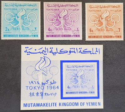 Jemen Kingdom 1964 Olympijské hry Tokio, kat. 30Euro!