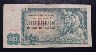 100 korun 1961,vzacna nahradni serie D 62
