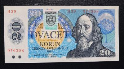20 korun 1988 se slovenskym kolkem UNC