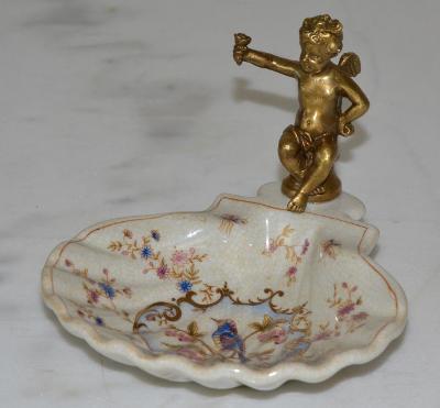 Zámecká miska s amorkem - porcelán+bronz - KRÁSNÁ