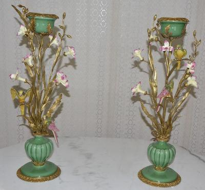 Zámecké svícny - porcelán + bronz - KRÁSNÉ - 64 cm