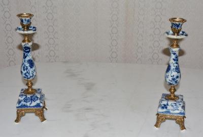 Zámecké svícny - porcelán + bronz - KRÁSNÉ