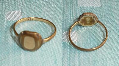 Starožitný prsten s destičkou pro rytí - zlacený kov