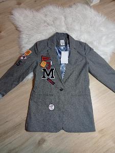 Krásné nové šedé sako s výšivkami
