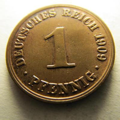 Německo, Deutsches Reich , 1 pfennig z roku 1909 A