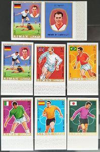 Ajman 1970 MS fotbal, 7ks známek bez perforace + kupon