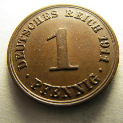 Německo, Deutsches Reich , 1 pfennig z roku 1911 A
