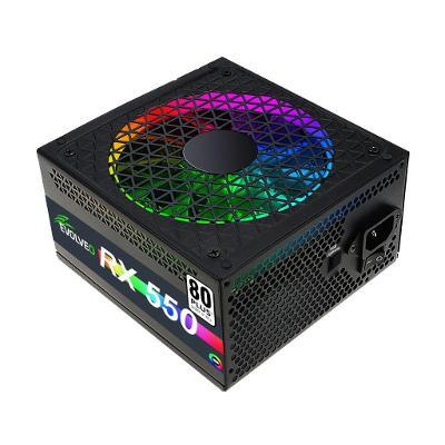EVOLVEO RX 550, zdroj 550W ATX, RGB rainbow vent.14cm, tichý,80+, bulk