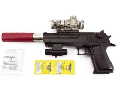 Pistole s laserem na vodní kuličky s náboji 9 - 11 mm. 33cm. Nová.