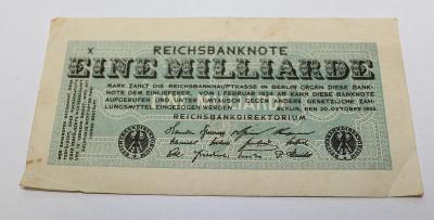 1 MILLIARDE  MARK 1923 NĚMECKO z oběhu /H2/