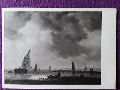 Pohlednice JAN VAN GOYEN : Lodě na klidném moři