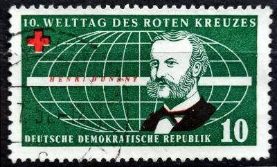 DDR: MiNr.572 Henri Dunant and Globe 10pf 1957