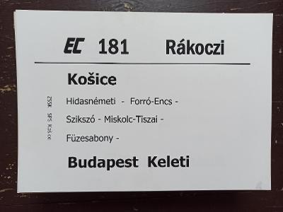 Směrová cedule ZSSK - EC 181 RÁKOCZI
