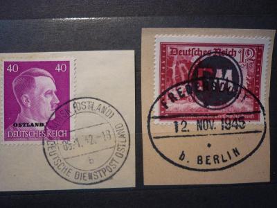 2 X REICH REV.- 1945 FREDENSDORF HITLER OSTLAND cca 85 Euro  !!!!!! R