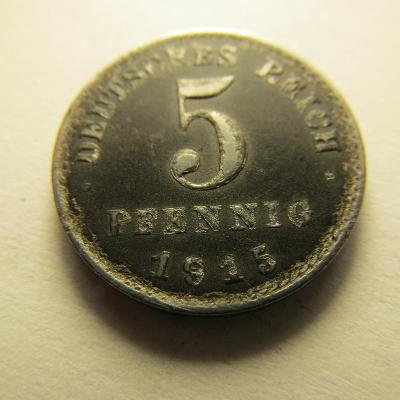 Německo, Kaiser Reich , 5 pfennig z roku 1915 A - Fe