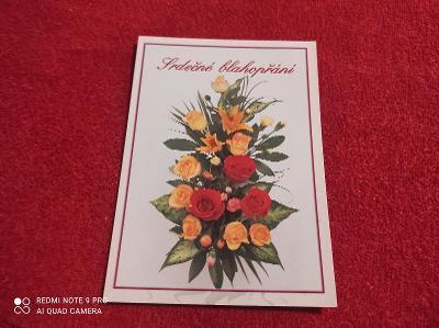 Srdečné blahopřání pohlednice