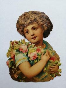 Krýst starý obrázek - tlačený - chlapeček s květinami