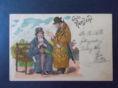 Karlovy Vary luxusní koláž lito Judaika Židé jako lázenští hosté