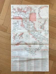 Italia 1965 –cestovní mapa, camping, Itálie