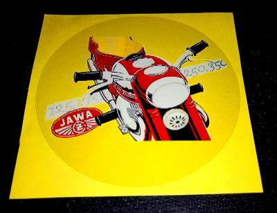 JAWA-ČZ 125,175,250,350, bílá samolepka pr.7-(1x)