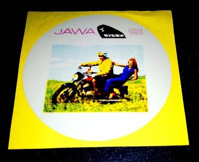 JAWA BISON 250-350, bílá samolepka pr.7-(1x)