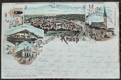 Mělník Kralupy n. Vltavou litografie náměstí Sokol Pod skálou DA