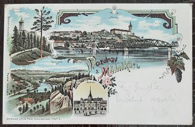 Mělník nad Labem litografie zřícenina Kokořína  Kokořínský důl   DA
