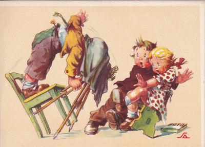 ►pohled - A. L. SALAČ - děti u fotografa / fotograf - E