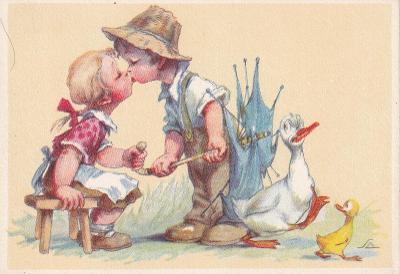 ►pohled - A. L. SALAČ - děti - polibek - rozbitý deštník - husa - E
