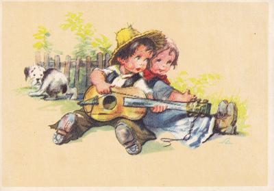 ►pohled - A. L. SALAČ - děti - hra na kytaru - pejsek - E