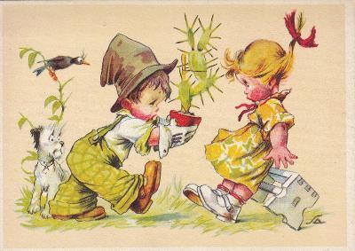 ►pohled - A. L. SALAČ - děti - kaktus - pejsek - E